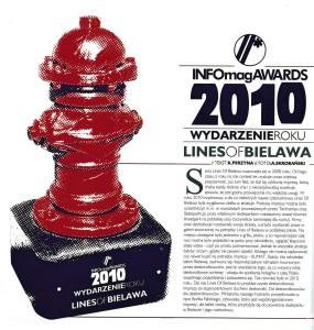 Lines Of Bielawa otrzymuje tytuł wydarzenia roku podczas INFOmagAWARDS 2010. (Fot. Info #41, 2011)